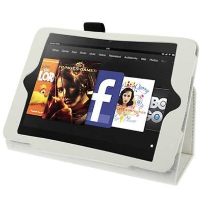 For Kindle Fire HD White Litchi Texture Leather Case with Holder