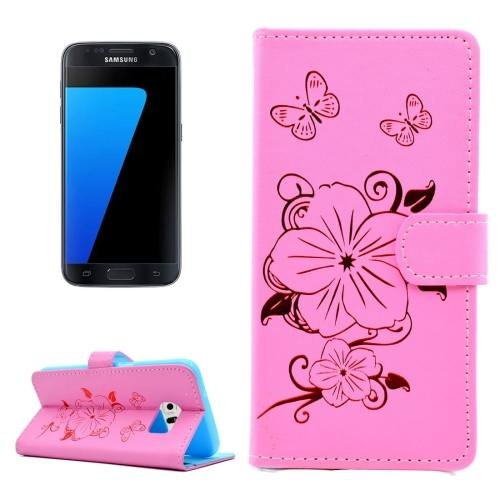 For Samsung Galaxy S7 Pink Leather Case with Holder, Card slots & Wallet