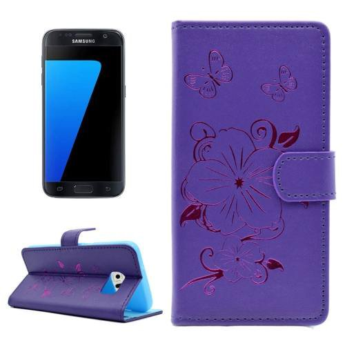 For Samsung Galaxy S7 Purple Leather Case with Holder, Card slots & Wallet