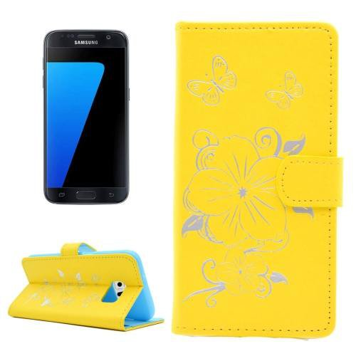 For Samsung Galaxy S7 Yellow Leather Case with Holder, Card slots & Wallet