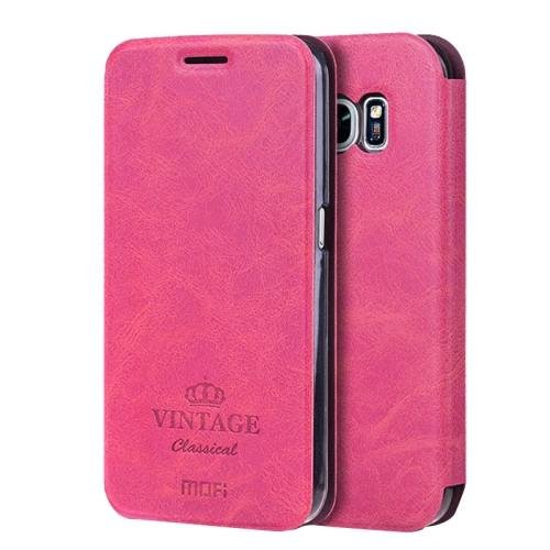 For Samsung Galaxy S7 Magenta Mofi Crazy Horse Leather Case with Card Slots