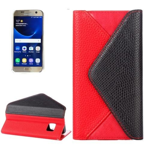 For Samsung Galaxy S7 Red Envelope Style Horizontal Flip Leather Case