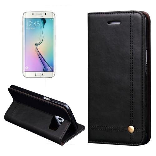 For Samsung Galaxy S7 Black Crazy Horse Leather Case with absorption
