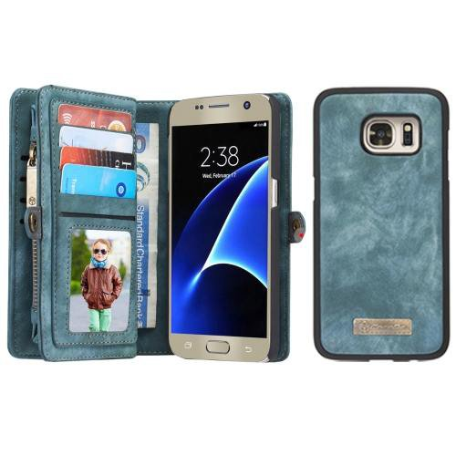 For Samsung Galaxy S7 Green CaseMe Detachable Leather Billfold Case