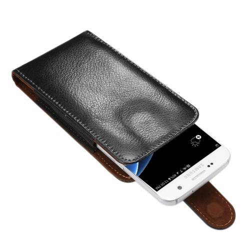 For Samsung Galaxy S7 Upright Genuine Leather Case with Rotatable Back Splint