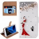 For Galaxy S7 Diamond Girl Pattern Leather Case with Magnetic Buckle