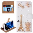 For Galaxy S7 Diamond Eiffel Pattern Leather Case with Magnetic Buckle
