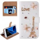 For Galaxy S7 Diamond Tower Pattern Leather Case with Magnetic Buckle