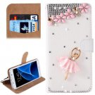 For Galaxy S7 Diamond Barbie Pattern Leather Case with Magnetic Buckle