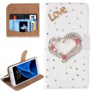 For Galaxy S7 Diamond Love Pattern Leather Case with Magnetic Buckle