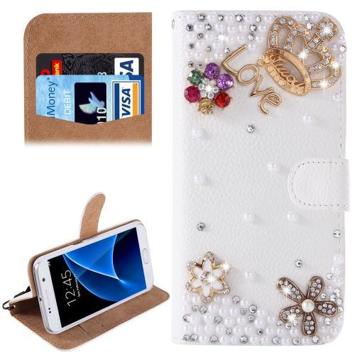 For Galaxy S7 Diamond Crown Pattern Leather Case with Magnetic Buckle
