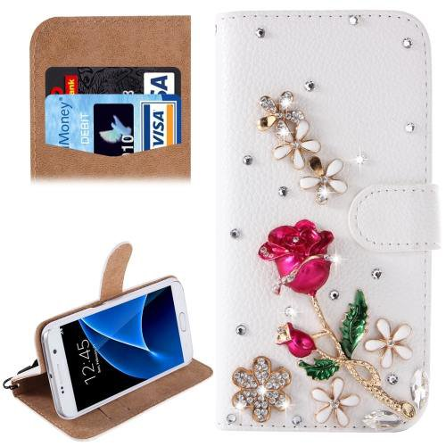 For Galaxy S7 Diamond Rose Pattern Leather Case with Magnetic Buckle