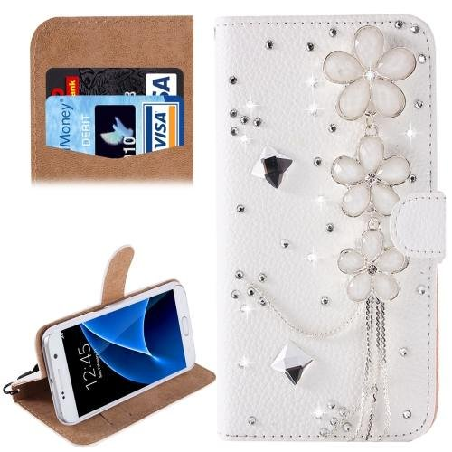 For Galaxy S7 Diamond Flowers Pattern Leather Case with Magnetic Buckle