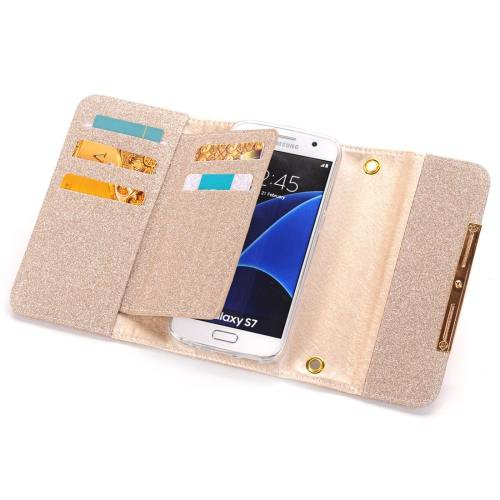 For Galaxy S7 Pink Glitter 2 in 1 Wallet Style Detachable Leather Case