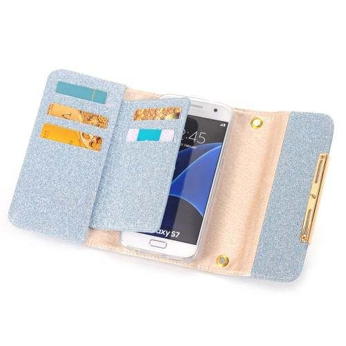For Galaxy S7 Blue Glitter 2 in 1 Wallet Style Detachable Leather Case