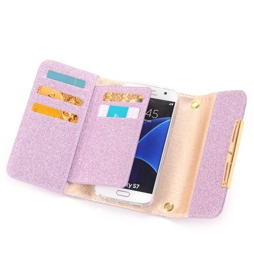 For Galaxy S7 Purple Glitter 2 in 1 Wallet Style Detachable Leather Case