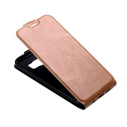 For Galaxy S7 Brown Flip Leather Case with Card Slot & Photo Frame