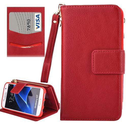 For Galaxy S7 Red Business Wallet Flip Leather Case & Photo Frame