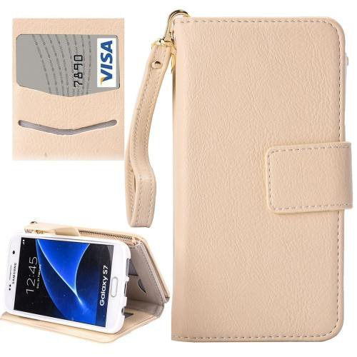 For Galaxy S7 White Business Wallet Flip Leather Case & Photo Frame