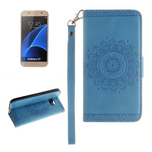 For Galaxy S7 Blue Embossed Floral Leather Case with Card Slots