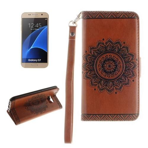 For Galaxy S7 Brown Embossed Floral Leather Case with Card Slots