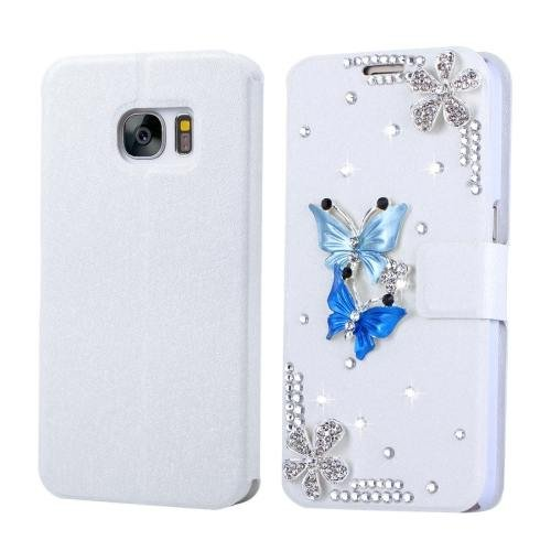 For Galaxy S7 Fevelove Diamond Butterflies Leather Case with Card Slots