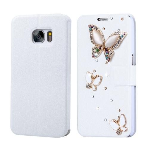 For Galaxy S7 Fevelove Diamond 3 Butterflies Leather Case with Card Slots