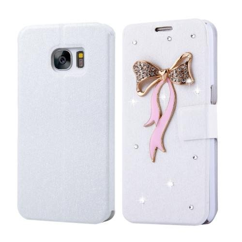 For Galaxy S7 Fevelove Diamond Bowknot Leather Case with Card Slots