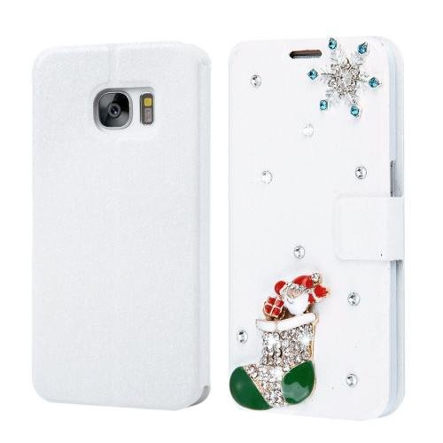 For Galaxy S7 Fevelove Diamond Christmas Leather Case with Card Slots