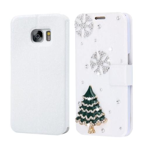 For Galaxy S7 Fevelove Diamond Christmas Tree Leather Case with Card Slots