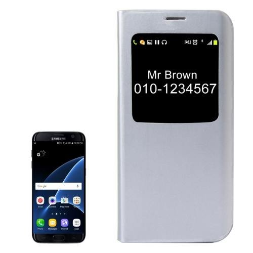For Galaxy S7 White Horizontal Flip Leather Case with Call Display ID
