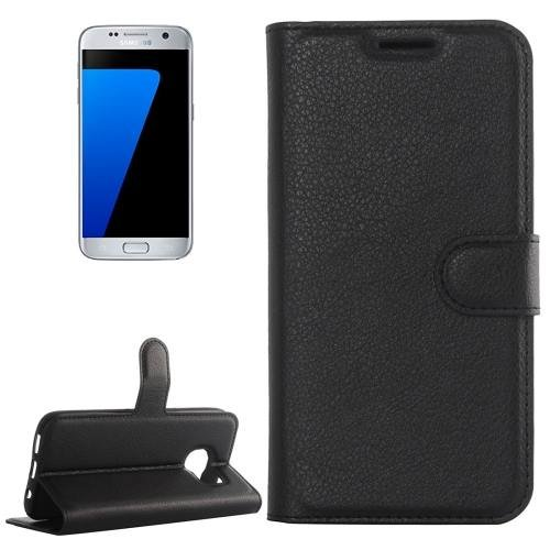 For Galaxy S7 Black Litchi Flip Leather Case with Holder, Card Slots & Wallet