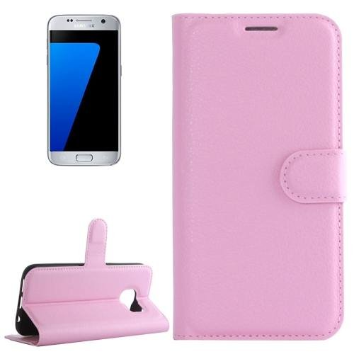 For Galaxy S7 Pink Litchi Flip Leather Case with Holder, Card Slots & Wallet