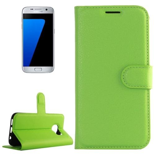 For Galaxy S7 Green Litchi Flip Leather Case with Holder, Card Slots & Wallet
