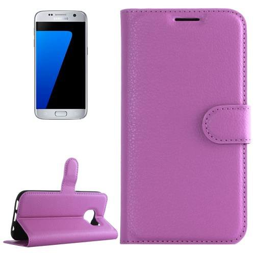 For Galaxy S7 Purple Litchi Flip Leather Case with Holder, Card Slots & Wallet