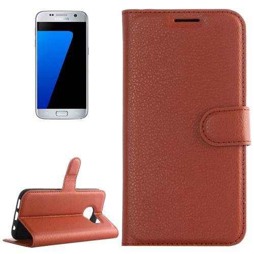 For Galaxy S7 Brown Litchi Flip Leather Case with Holder, Card Slots & Wallet