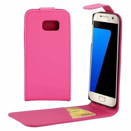For Galaxy S7 Magenta Flip Waist Bag with Magnetic Buckle & Card Slot