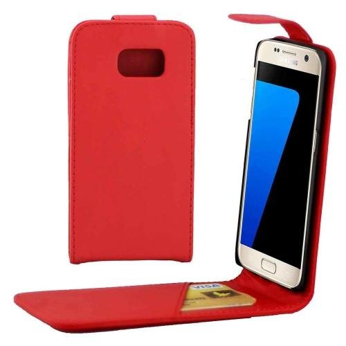 For Galaxy S7 Red Flip Waist Bag with Magnetic Buckle & Card Slot