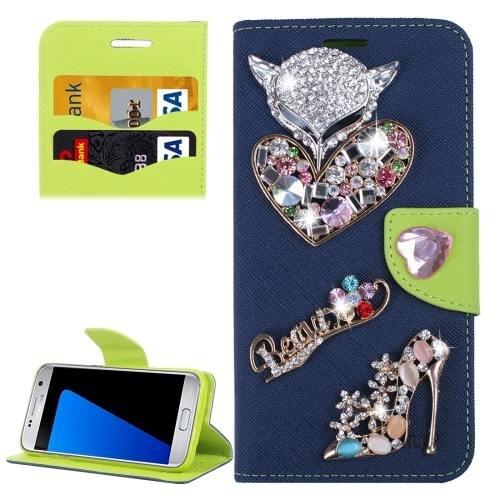 For Galaxy S7 Dark Blue Diamond Encrusted Fairy Fox Hearts Leather Case