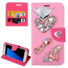 For Galaxy S7 Pink Diamond Encrusted Fairy Fox Hearts Leather Case