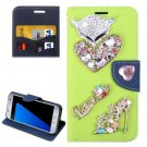 For Galaxy S7 Green Diamond Encrusted Fairy Fox Hearts Leather Case