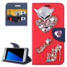 For Galaxy S7 Red Diamond Encrusted Fairy Fox Hearts Leather Case