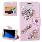 For Galaxy S7 Rose Gold Diamond Encrusted Fairy Fox Hearts Leather Case