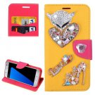 For Galaxy S7 Yellow Diamond Encrusted Fairy Fox Hearts Leather Case