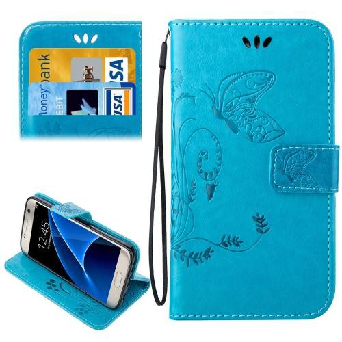 For Galaxy S7 Blue Crazy Horse Printing Leather Case with Wallet