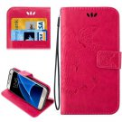 For Galaxy S7 Magenta Crazy Horse Printing Leather Case with Wallet