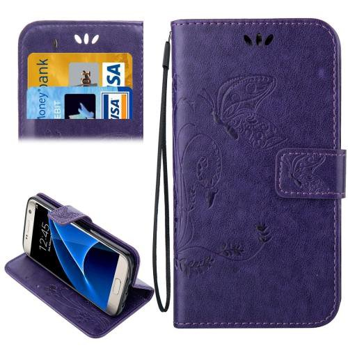 For Galaxy S7 Purple Crazy Horse Printing Leather Case with Wallet