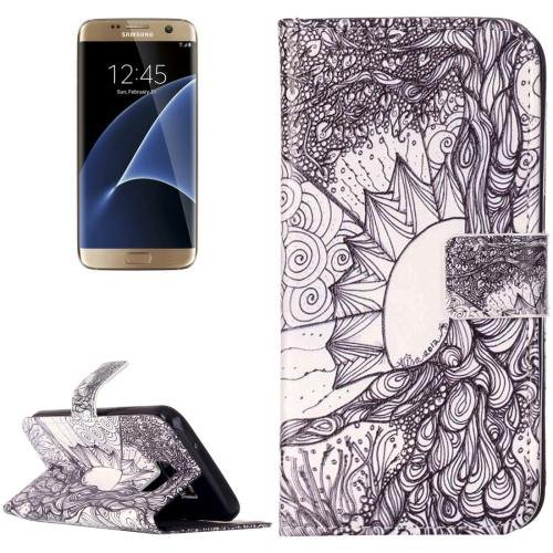 For Galaxy S7 Rilievo Tree Leather Case with Magnetic Buckle & Card Slot