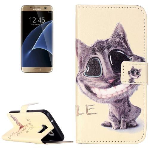 For Galaxy S7 Rilievo Cat Leather Case with Magnetic Buckle & Card Slot
