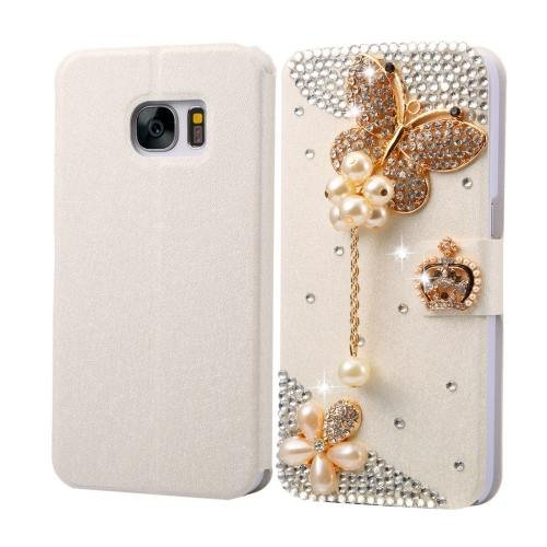 For Galaxy S7 Fevelove Diamond Butterfly Leather Case with Magnetic Buckle & Card Slot